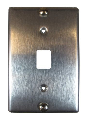 Allen Tel Products AT630B-8 Single Gang, 1 Port, 8 Position, 8 Conductor Wall Telephone Outlet Jack, Stainless Steel