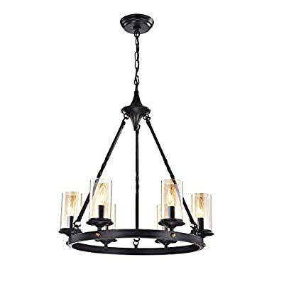 6-Light Antique Black Clear Glass Chandelier Industrial Ceiling Fixture