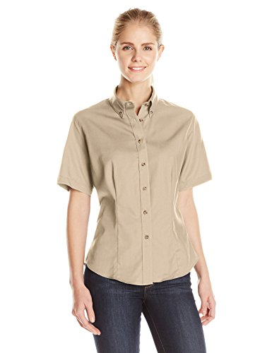 LEE Women's Meridian Performance Twill Short-Sleeve Shirt, Khaki, Large (Womens Short Sleeve Twill Shirt)