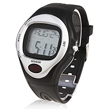 Reloj con contar calorías, pulsómetro y cronómetro – plateado, negro, talla unica