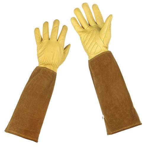 Lalafancy Rose Pruning Gloves, Thorn Proof Goatskin Women Leather Gardening Gloves Long Cowhide Gauntlet Protection