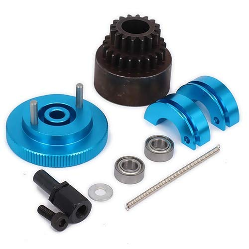 (Wincom Dishman Accessories 1Set 16T-21T Tooth Teeth Two Speed Clutch Set, Bell Springs Flywheel Bearings Axle for 1/10 Rc Nitro Engine Car Hpi Axial - (Color: Blue))