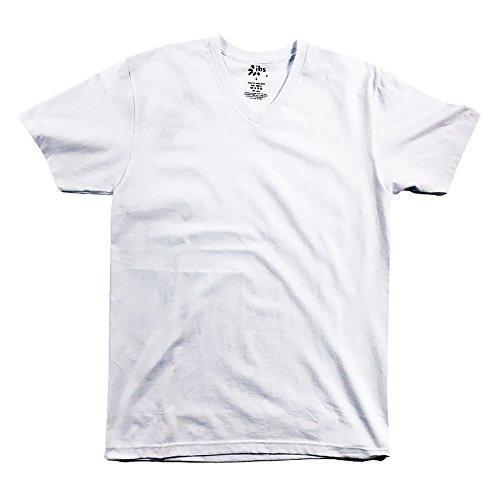- IBS Heavyweight T Shirt Mens Short Sleeve V Neck S-6XL (6XL, White)