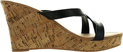 Spirit Moda Alice-3 Women Lucky Peep Toe Platform Wedge Sandal,Black,7