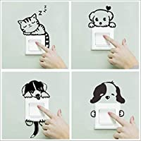 POPIGIST 4pcs Light Switch Decals Cartoon Little Black Cat Dog Pattern Wall Switch Decoration Sticker Removable Switch…