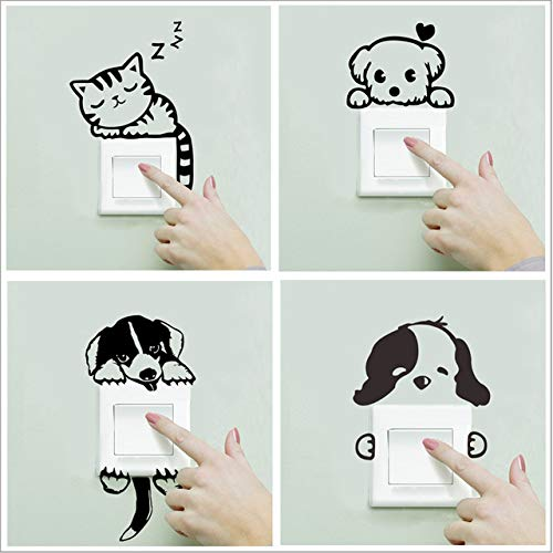 POPIGIST 4pcs Light Switch Decals Cartoon Little Black Cat Dog Pattern Wall Switch Decoration Sticker Removable Switch Paste