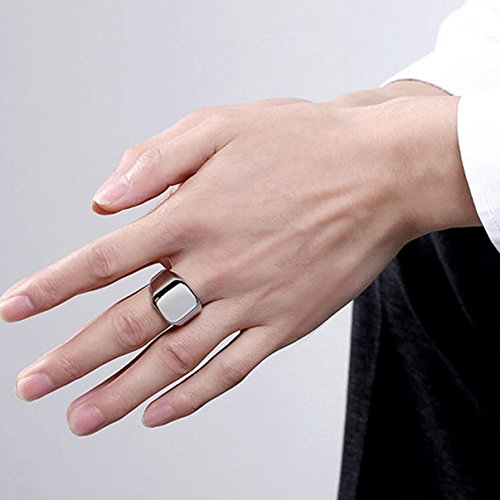 14-30 Acciaio Inossidabile,Anelli Tono Argento Lucido Sigillo,Colore Argento JewelryWe Gioielli Anello da Uomo Donna