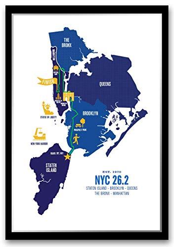 Run Ink NYC 26.2 Course Marathon Map (Nyc Marathon Runners)