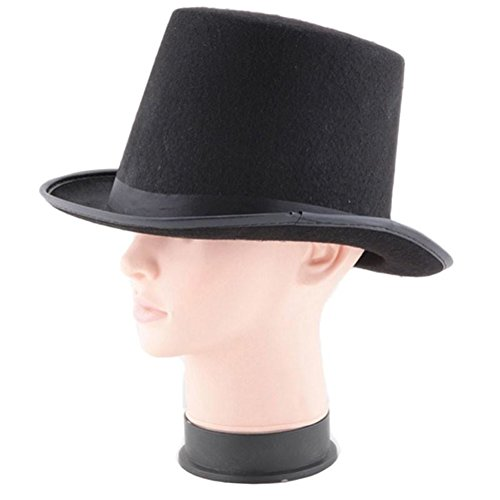 YUSHHO56TNovelty & Gag Toys Halloween Magician Magic Felt Top Hat Jazz Cap Masquerade Party Costume Props Magic Props, Wide Brim, Retro and Class - Black ()