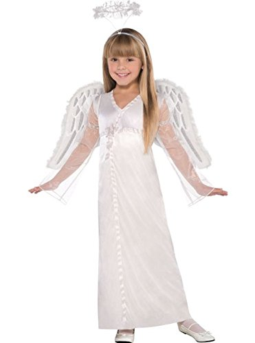 Costumes USA Heavenly Angel Costume for Girls, Size Small, Includes a Silken White Dress and a Ruffled Halo -