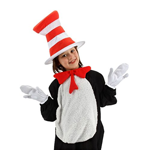 Seuss Ideas Doctor Costumes (OvedcRay Dr. Seuss Cat In The Hat Child Costume Kit Hat Bow Tie White Gloves White)
