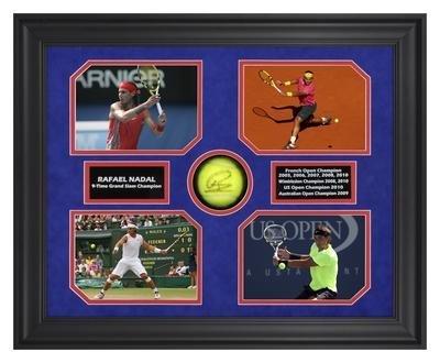 Rafael Nadal Autographed Tennis Ball w/Grand Slam Photos - Framed - Autographed Tennis Ball Shadowboxes
