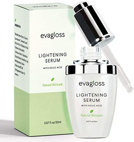 Skin Lightening Serum Dark Spot Corrector with Kojic Acid -Natural Skin Lightener Whitening Serum For Body, Face, Neck, Bikini, Sensitive Areas & All Skin Types - 20ml by Evagloss