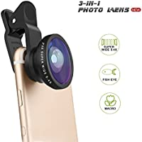 PLAY X STORE Fisheye Lens, Universal 3 in 1 Clip on 0.4X...
