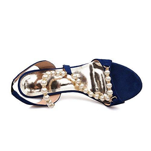 Amoonyfashion - Donna - Sandali Aperti Con Punta Aperta E Smerigliato Blu
