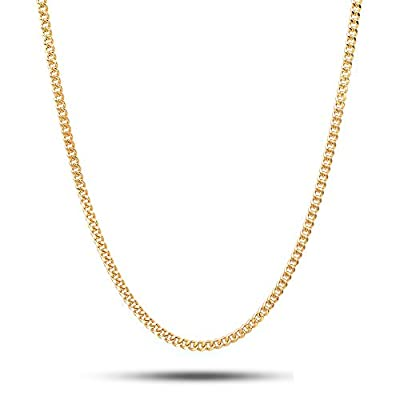18K Solid Yellow Gold 2.5mm Cuban Curb Link Chain Necklace- Made in Italy-18 Karat…