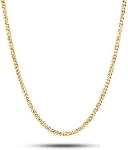 18 Karat Yellow Gold 2.0mm Cuban Link Curb Chain Necklace- 18K Yellow Gold- Made in Italy