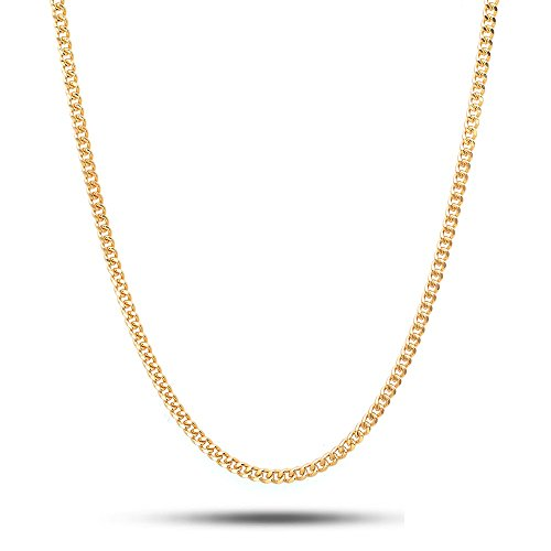 18K Solid Yellow Gold 2.5mm Cuban Curb Link Chain Necklace- Made in Italy- 22