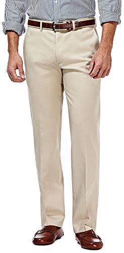 Haggar Premium No Iron Khaki Stretch Straight Fit Flat Front Pant Sand ()