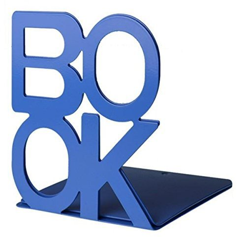 F.Dorla Cute Fashion Book Style Nonskid Bookends, Art Bookend, 1Pair(Bule)