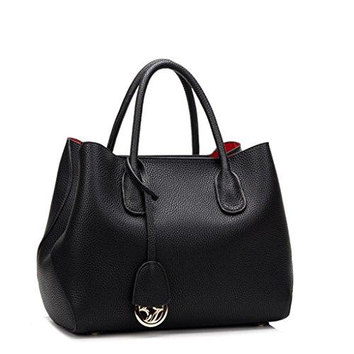 Handbag Bolso de Hombro de Platino de Cuero de Primera Capa para Mujer Bolso de Bandolera de Platino de Rostro Suave para Mujer A+ (Color : Red) Black