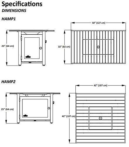 Napoleon HAMP1-GY Hamptons Rectangle PatioFlame Table