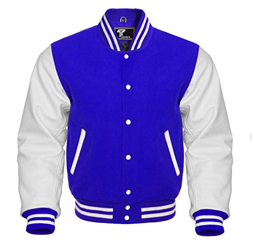 Premium Letterman Baseball School College Bomber Varsity Jacket Wool Blend & Genuine Leather Sleeves (Royal Blue/White, Medium)
