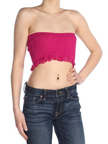 Free People Women's Callie Longline Bandeau Bra, Pink, Large