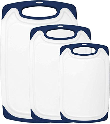 HOMWE Kitchen Cutting Board (3-Piece Set) - Juice Grooves with Easy-Grip Handles, Non-Porous, Dishwasher Safe - Multiple Sizes - Navy Blue