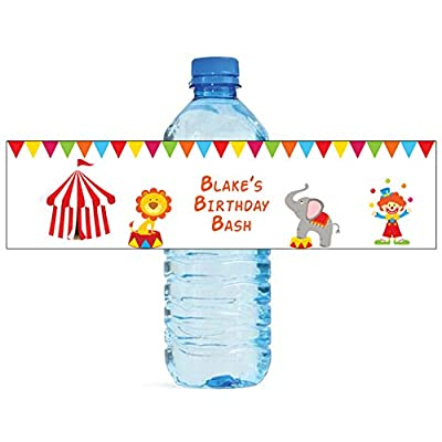"100 Circus Birthday party Anniversary Engagement Party Water Bottle Labels 8""x2"": Toys & Games"