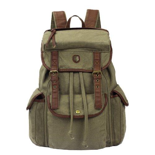 Multi-function Women Men Canvas Backpack Leather Trim Book Bag Rucksack Shoulder Bag (Green) For Sale