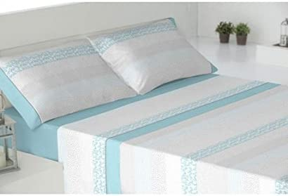 JUEGO DE SÁBANAS 100% ALGODÓN cama de 135 cm AZUL modelo MELANGE ...
