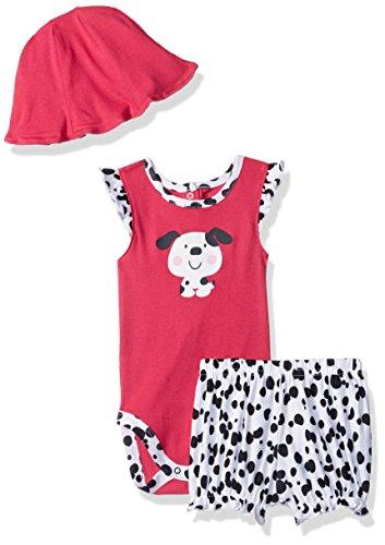 Gerber Baby Girls' Bodysuit, Short and Tulip Hat, Dalmatian, 24 Months ()