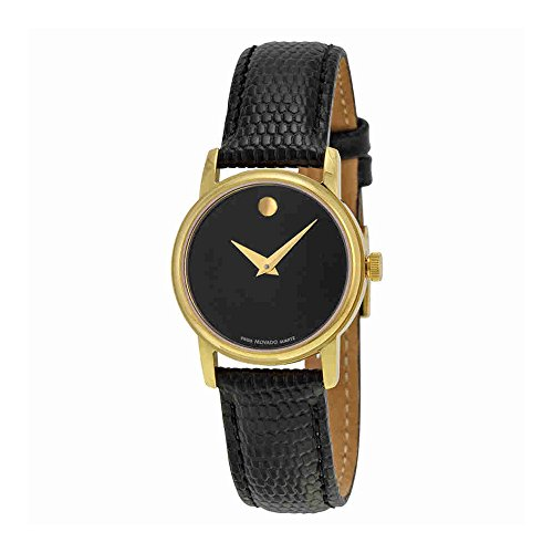 Movado 2100006 Womens Museum Gold Tone Stainless Steel Case Leather Strap Black Tone Dial (Gold Tone Museum)