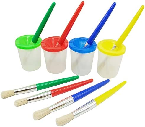 Jatidne 4 Pieces Spill Proof Paint Cups in 4 Colors and 4 Pieces Color-Matched Paint Brushes Kit