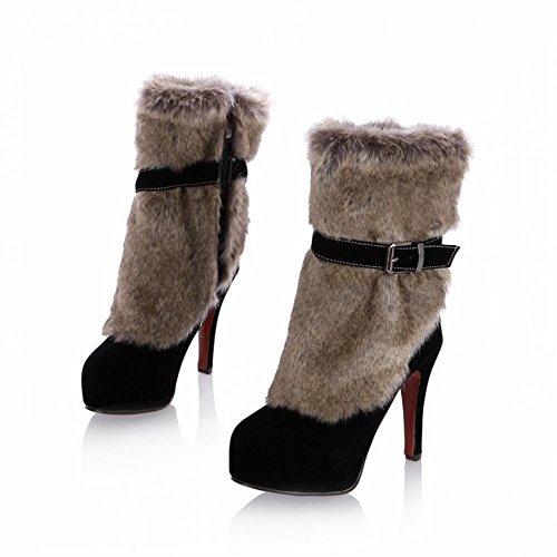 Bedel Voet Faux Fur Dames Platform Hoge Hak Snowboots Zwart
