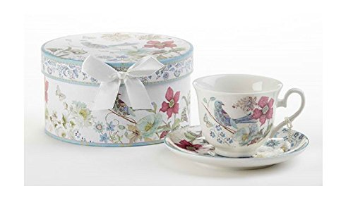 Delton Products Partridge 3.5 inches Porcelain Cup/Saucer in Gift Box Drinkware -