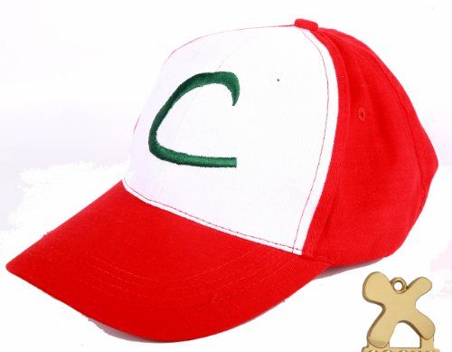 Pokemon Ash Ketchum Baseball Snapback Cap Trainer Hat for Adult Embroidered, Adjustable, Red -
