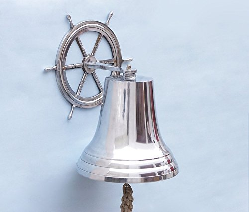 HANDCRAFTED MODEL SHIPS Chrome Hanging Ship Wheel Bell 18'' / BL-2026-5-CH / by Handcrafted Model Ships