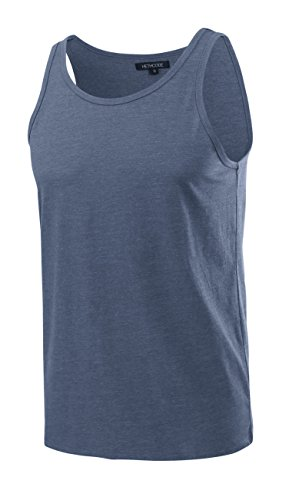 HETHCODE Men's Classic Basic Athletic Jersey Tank Top Casual T Shirts Cadet Blue (Athletic Mens Tank Top)