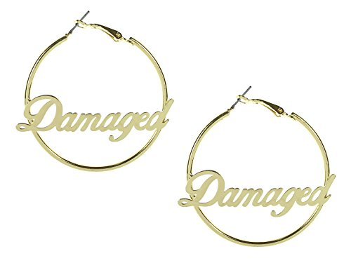 Harley Quinn Suicide Squad Damaged Text Hoop Earrings