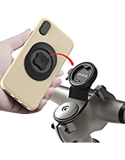 Mountain Bike Phone Mount,Bicycle Cell Phone Holder,Universal Aluminum Handlebar Stem Phone Clip,GPS Riding Clamp,MTB Road Bicycle Quick Release Compatible with iPhone Samsung Google(Black)