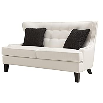Armen Living LCSK2WH Skyline Loveseat in White Bonded Leather and Black Wood Finish
