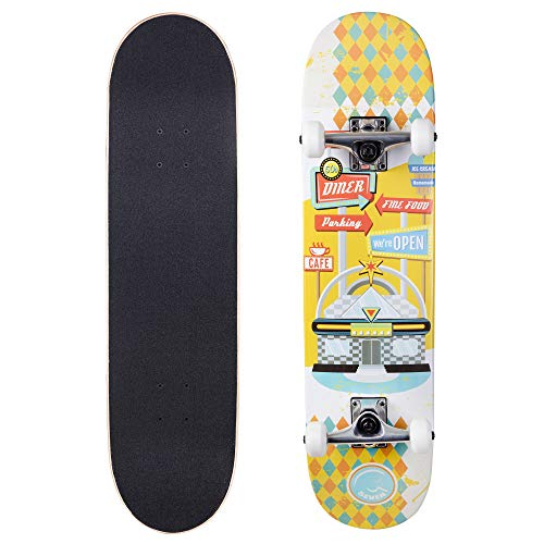 Cal 7 Complete Skateboard, Popsicle Double Kicktail Maple Deck, Skate Styles in Graphic Designs (7.75