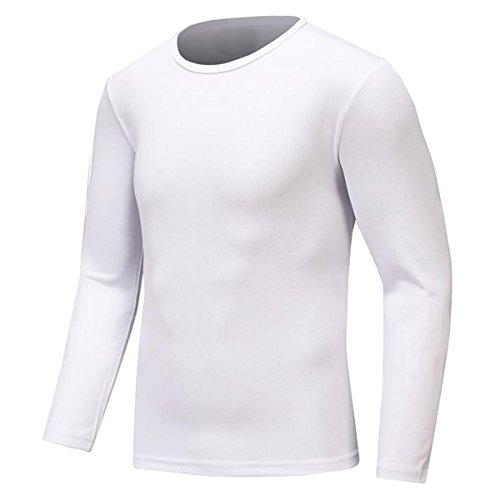 Century Star Men's Basic Skins Long Sleeve Crew Quick-drying Cool Dry Outdoor Winter Sports Shirt Rash Guard White - Soccer Cheapest Online Jerseys