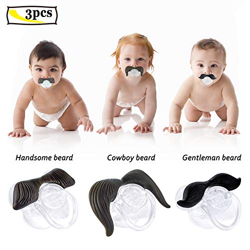 Ansblue Mustache Pacifier, Handsome Bearded + Cowboy Beard + Gentleman Beard, Funny Gentleman Mustache, Food Grade Silicone, BPA Free - 3 pcs