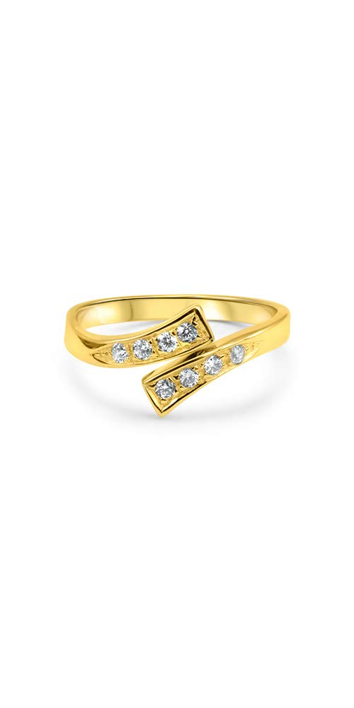 14k Yellow Gold Toe Ring CZ. Size Adjustable by Nose Ring Bling