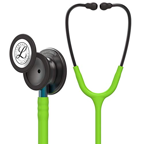 3M Littmann Classic III Monitoring Stethoscope, Smoke Chestpiece, Lime Green Tube, Blue Stem and Smoke Headset, 27 inch, 5875
