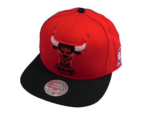 NBA Mitchell & Ness Chicago Bulls XL Logo Two Tone Snapback Hat - Red/Black Logo Two Tone Wool