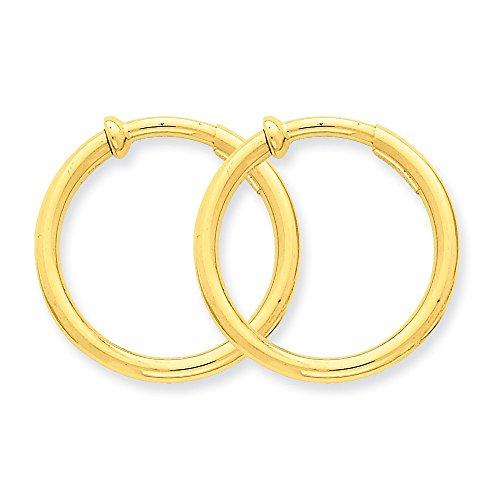 14k Yellow Gold Non Pierced Clip On Hoops Hoop Earrings Ear Set Fine Jewelry Gifts For Women For Her